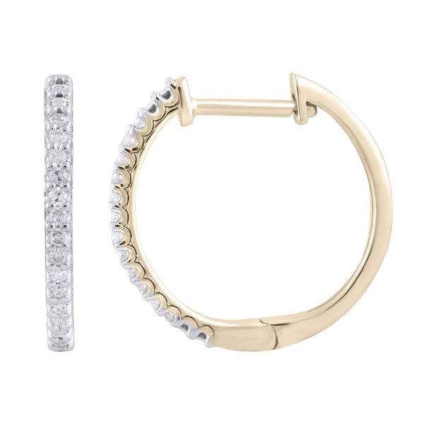 Hoop Earrings with 0.1ct Diamonds in 9K Yellow Gold