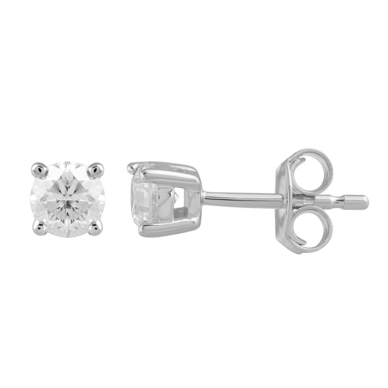 Stud Earrings with 0.5ct Diamonds in 9K White Gold