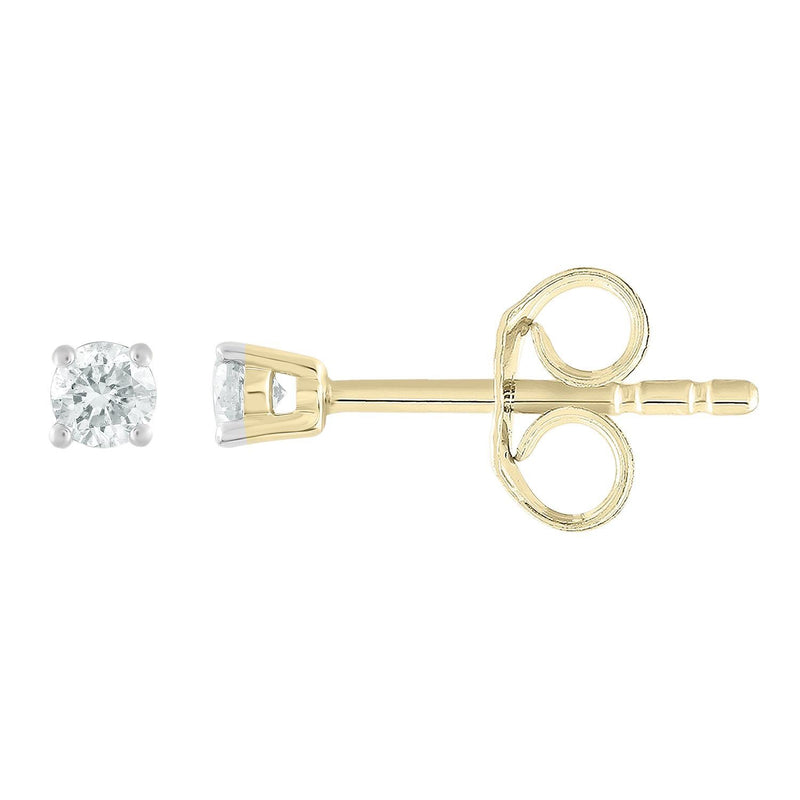 Stud Earrings with 0.1ct Diamonds in 9K Yellow Gold