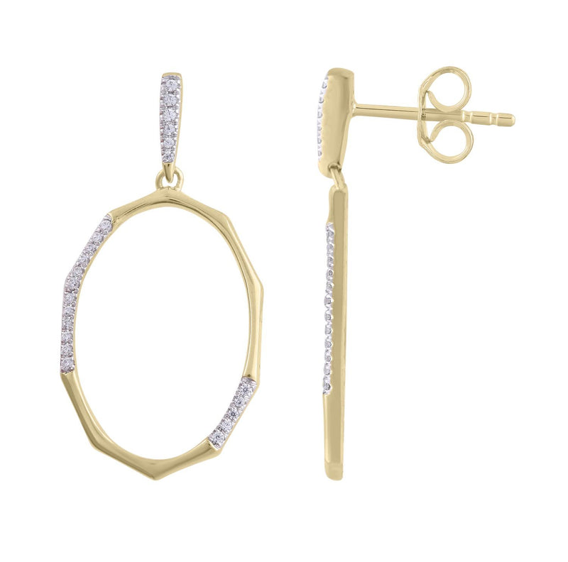 Earrings with 0.1ct Diamonds in 9K Yellow Gold