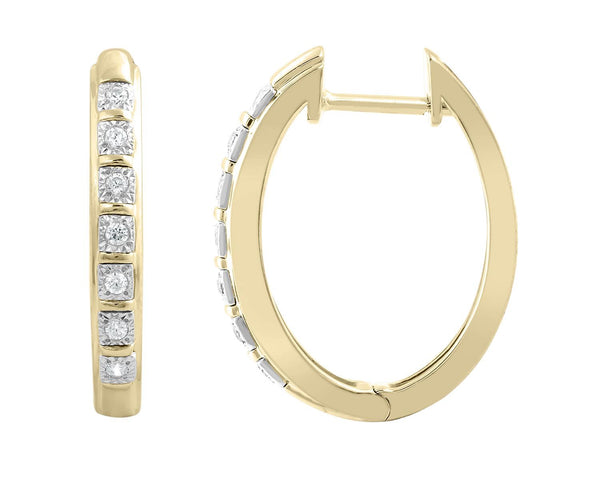 Huggie Earrings with 0.1ct Diamonds in 9K Yellow Gold