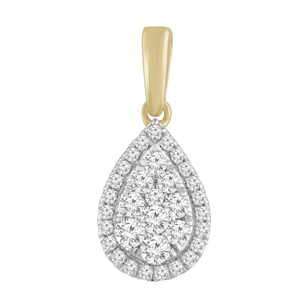 Pear Pendant with 0.25ct Diamond in 9K Yellow Gold