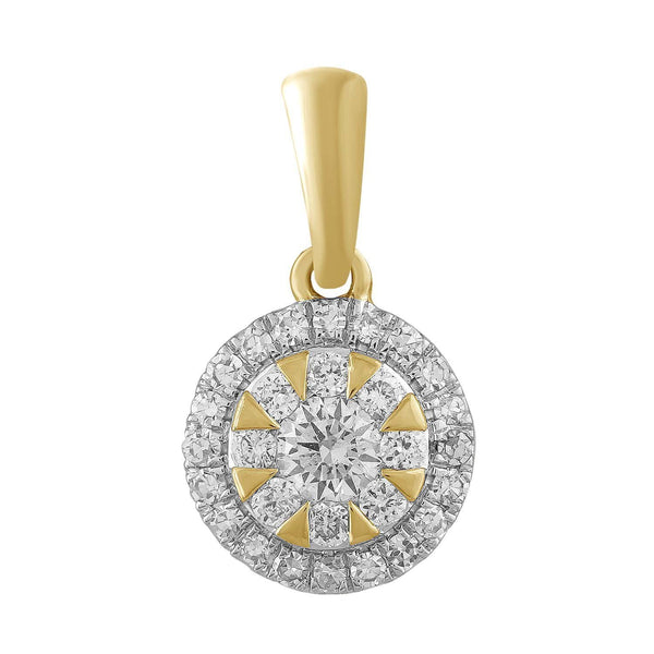 Round Pendant with 0.2ct Diamond in 9K Yellow Gold