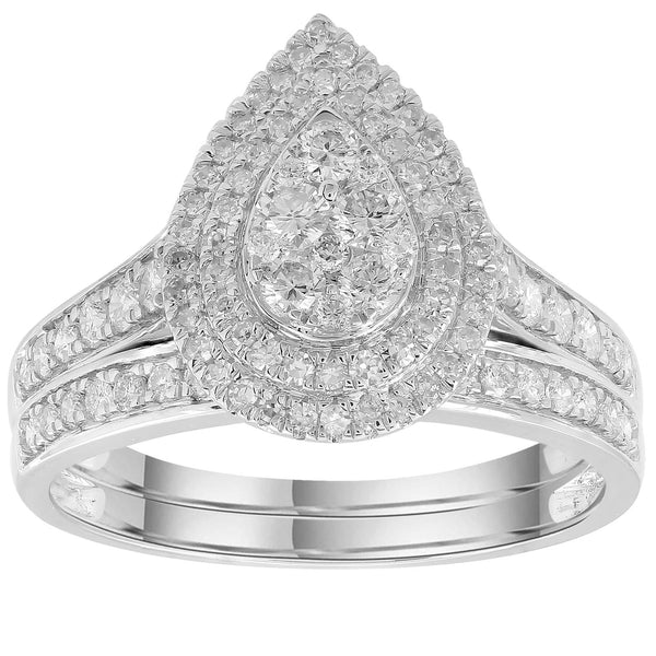 Engagement & Wedding Ring Set with 1ct Diamonds in 18K White Gold