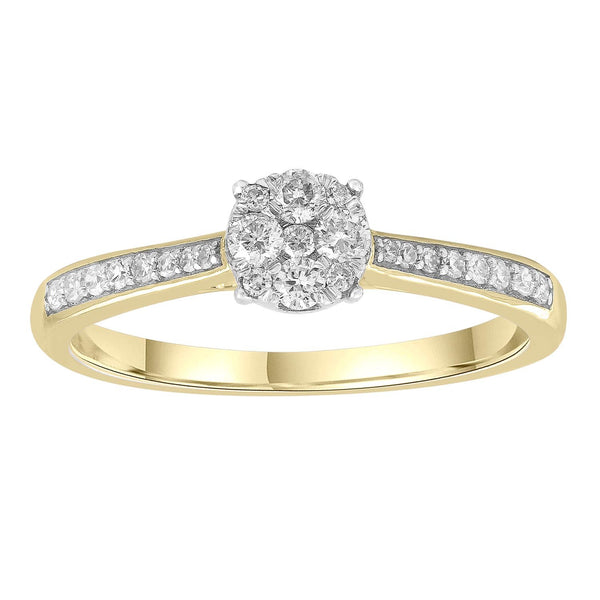 Ring with 0.25ct Diamonds in 9K Yellow Gold