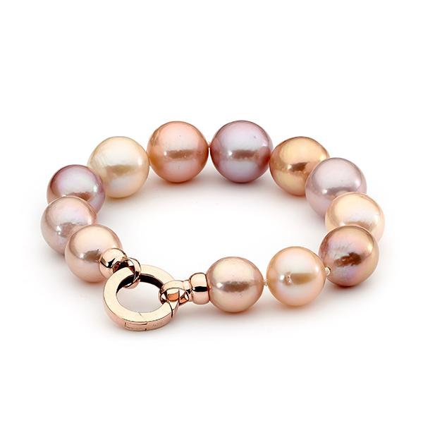 9ct Rose Gold Natural Pink Freshwater Pearl Strand Necklet