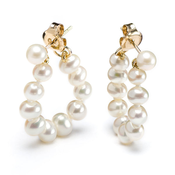9ct Yellow Gold White Pearl Stud Earrings
