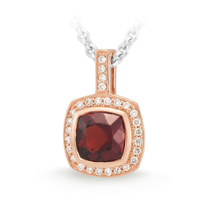 Garnet & Diamond Bezel/Bead Set Pendant in 9ct Rose Gold