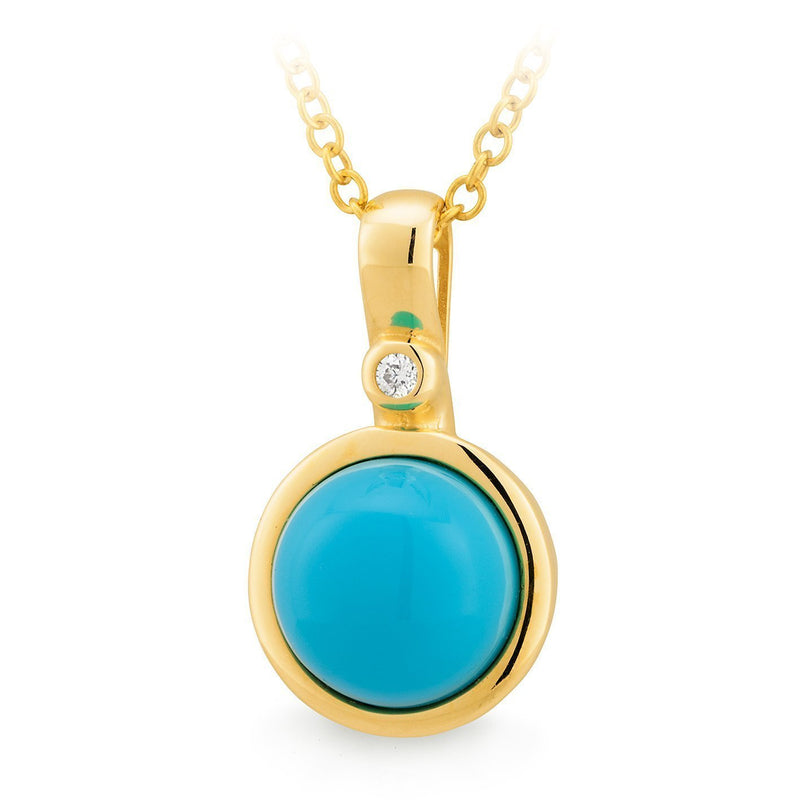 Turquoise Reconstituted & Diamond Bezel Set Pendant in 9ct Yellow Gold