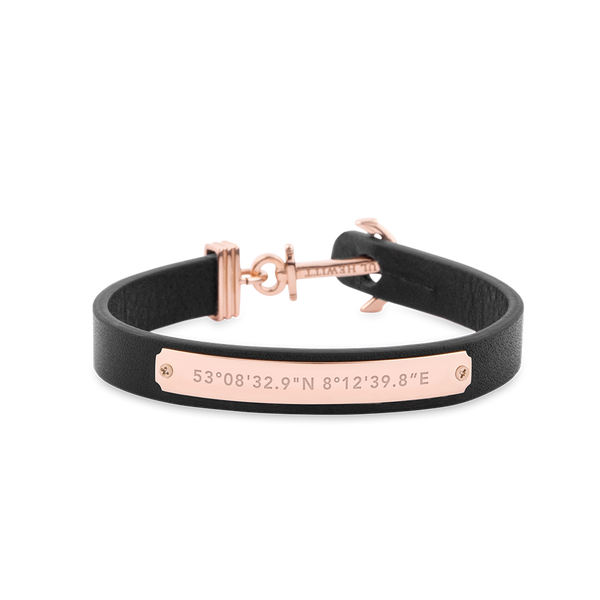 Paul Hewitt Signum Female Coordinates Rose Gold / Black Bracelet - S