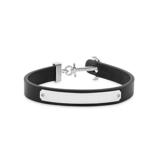 Paul Hewitt Signum Male Engraveable Silver / Black Bracelet