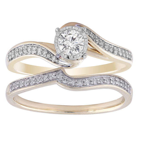 Ring Set with 0.5ct Diamond in 9K Yellow Gold