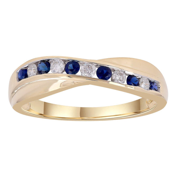 Sapphire Ring with 0.12ct Diamonds in 9K Yellow Gold