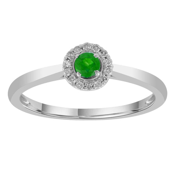 Emerald Ring with 0.05ct Diamonds in 9K White Gold