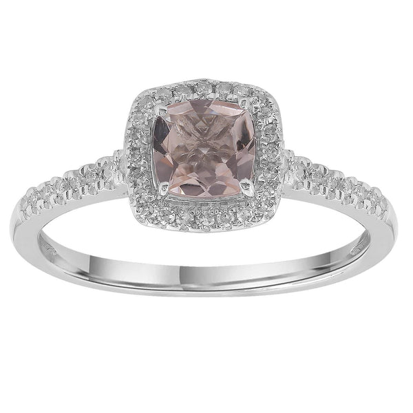 Morganite Ring with 0.15ct Diamonds in 9K White Gold