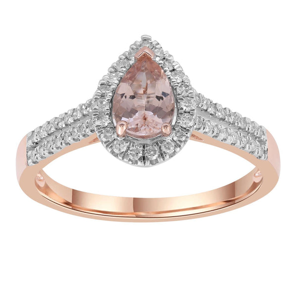Morganite Pear Ring with 0.25ct Diamonds in 9K Rose Gold