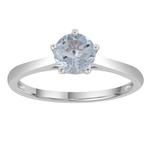 Aquamarine Ring set in 9K White Gold