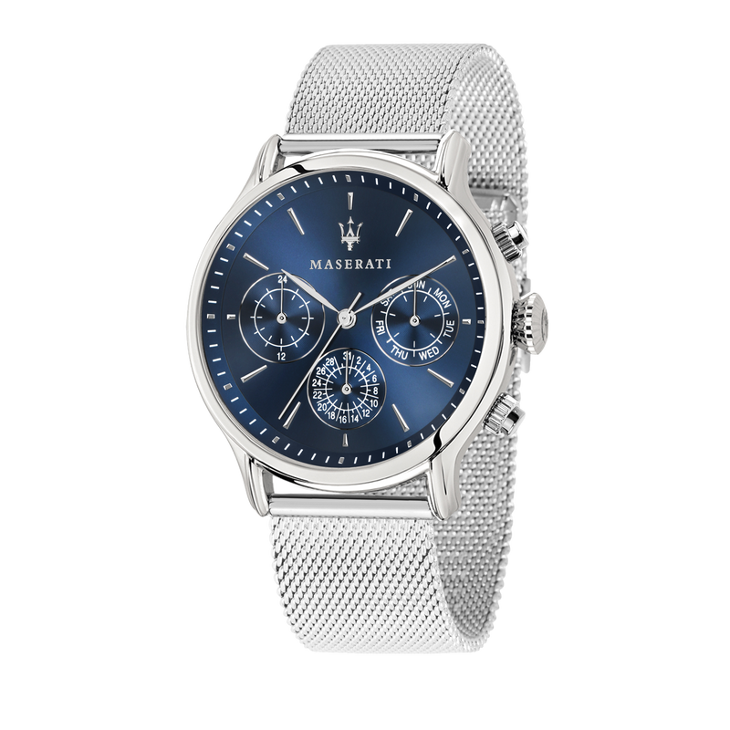 Maserati EPOCA 42mm Blue Dial SIlver Mesh Watch