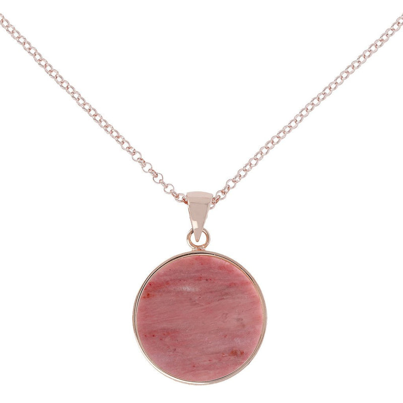 Bronzallure Red Fossil Wood  Disc Necklace