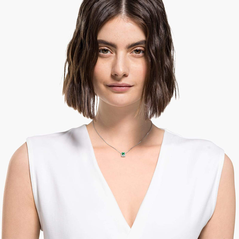 Swarovski  Green Angelic Rectangular Necklace