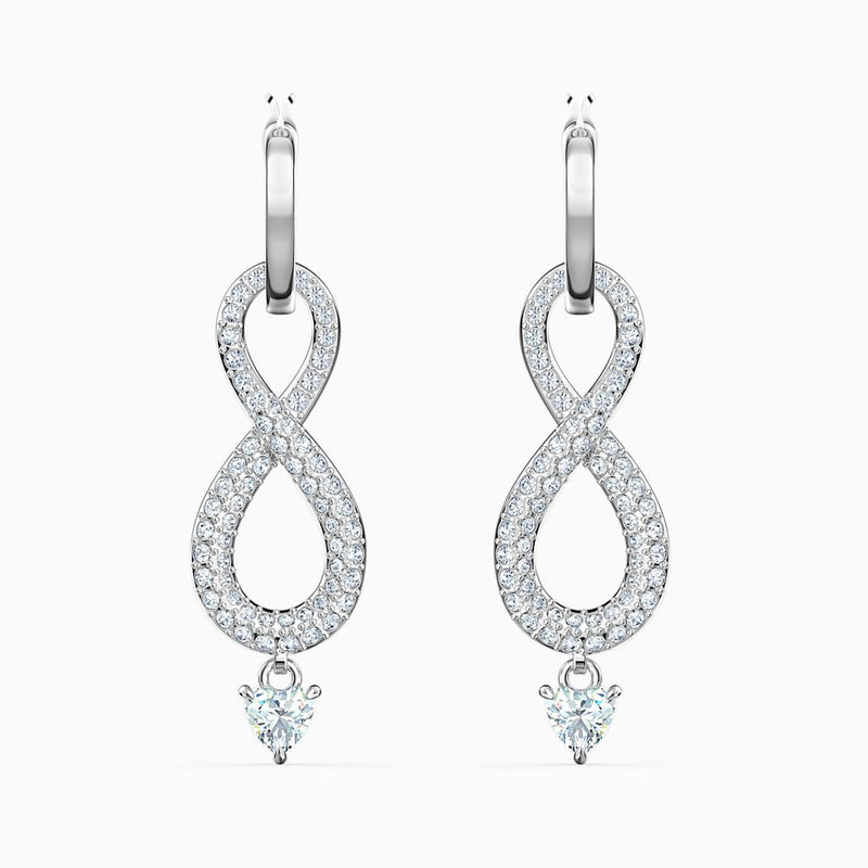 SWAROVSKI Infinity Pierced Earrings -  White