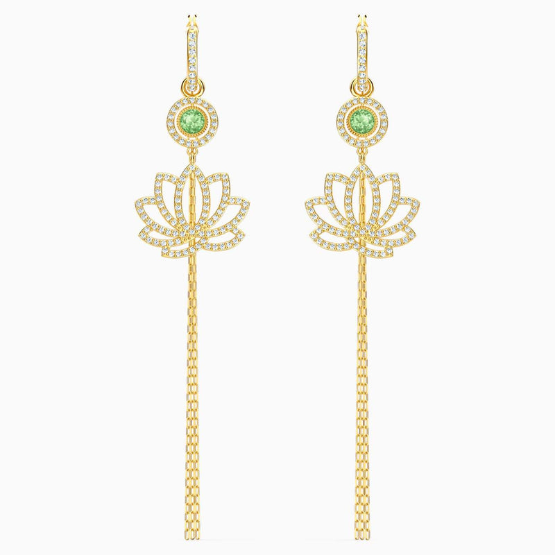 SWAROVSKI Symbolic Lotus Pierced Earrings -  Green