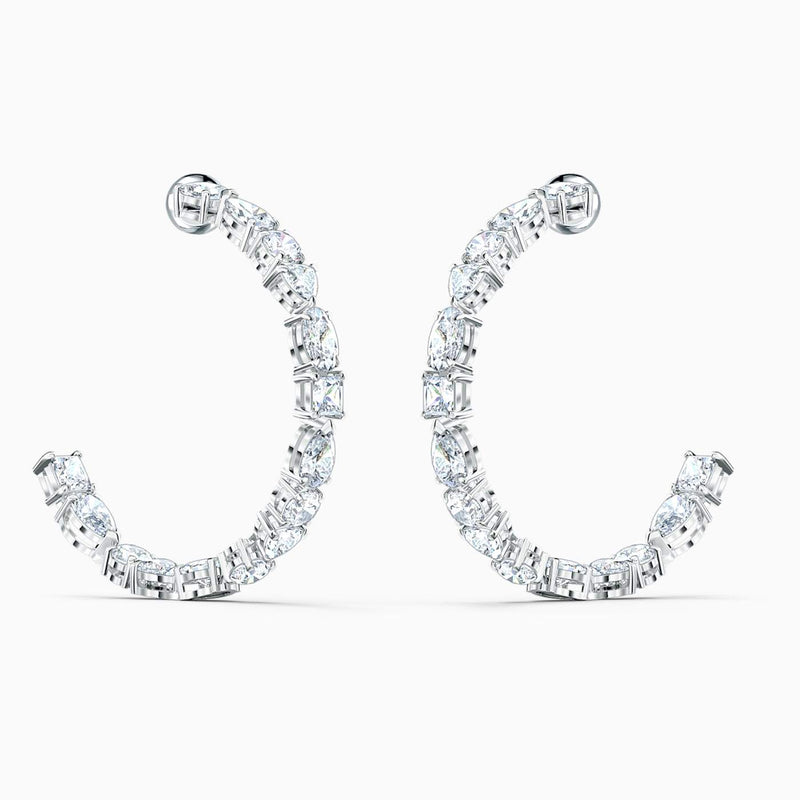 Swarovski White Tennis Deluxe Mixed Hoop Pierced Earrings