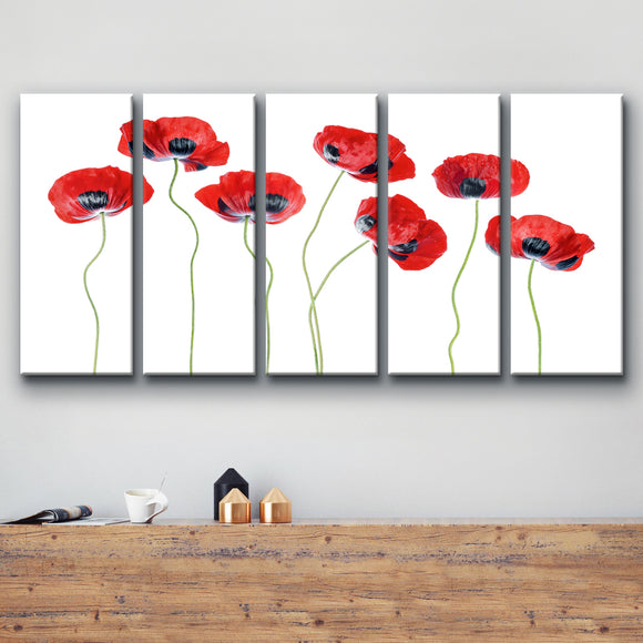 Ready2HangArt 'Ladybird Poppies' 5-Piece Canvas Wall Décor Set