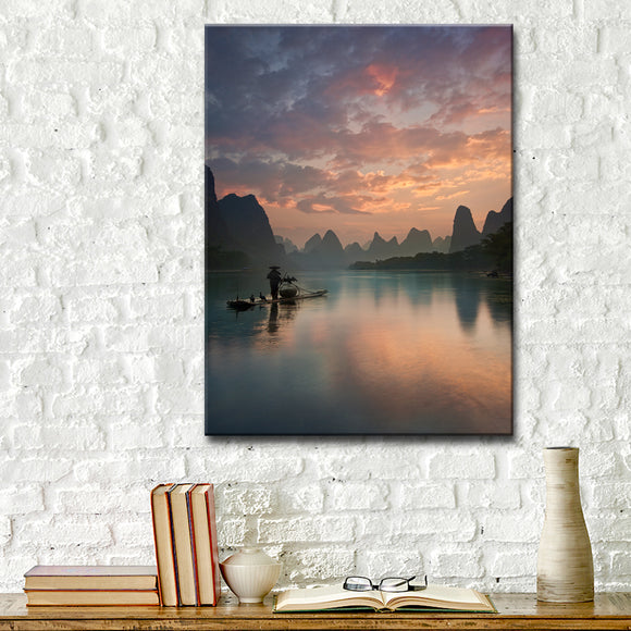 Ready2HangArt 'Li River Sunrise' Wrapped Canvas Wall Décor