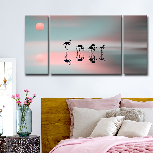 Ready2HangArt 'Family Flamingos' 3-Pc Canvas Wall Décor Set