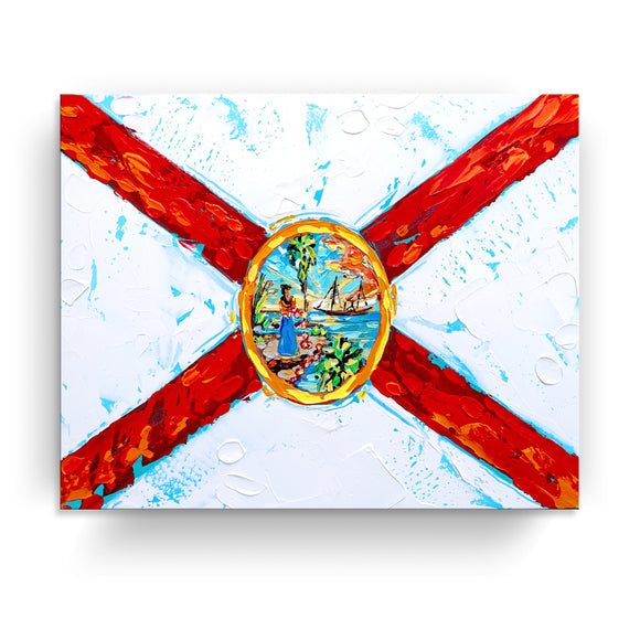 Bahama Relief 'FL Flag' Canvas Coastal Wall Art