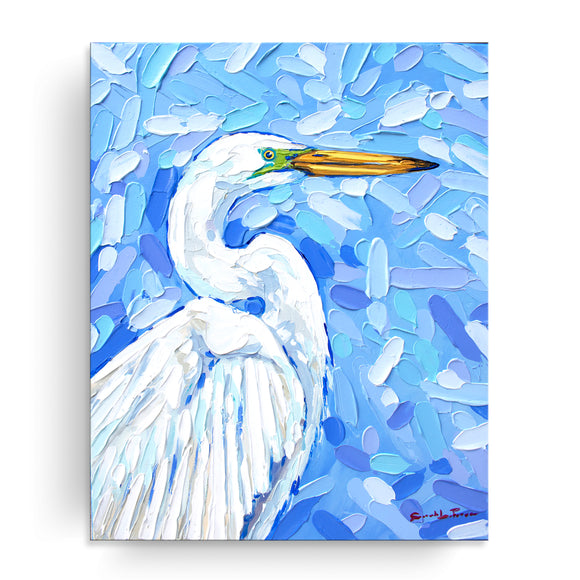Bahama Relief 'Great Egret' Canvas Coastal Wall Art