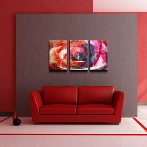 'Abstract Rose' Canvas Wall Art (3-Piece)