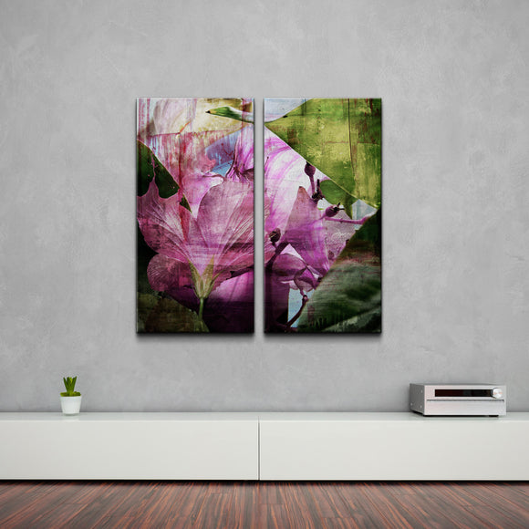 Oversized 'Hibiscus' Abstract 2-PC Canvas Wall Art