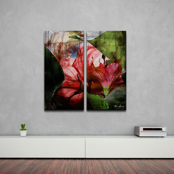 'Hibiscus' 2-piece Oversized Abstract Canvas Wall Art