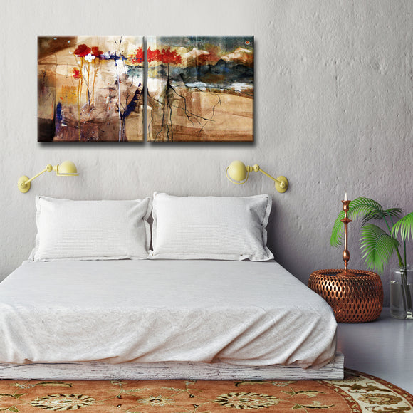 'Floral' Oversized Abstract Canvas Wall Art (2-Piece)