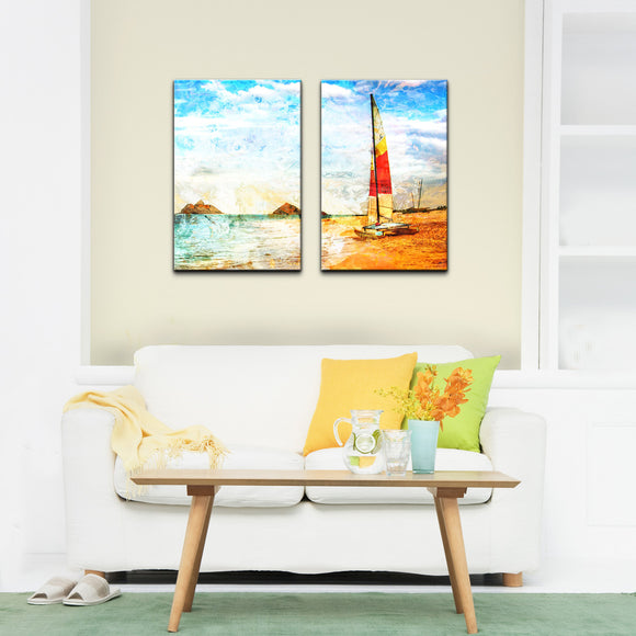 'Red Sail' 2 PieceWrapped Canvas Wall Art Set