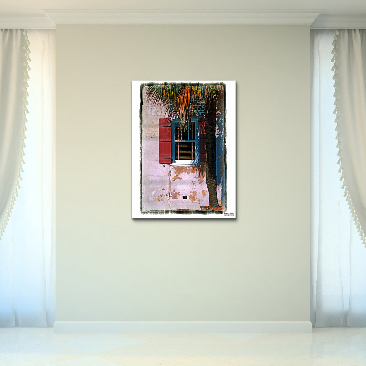Bruce Bain 'Charleston Window' 32x24 inch Canvas Wall Art