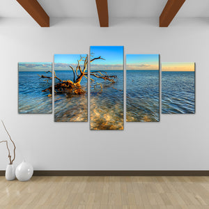 Bruce Bain 'Ocean View' 30x60 inch Canvas Wall Art (5-Pc set)