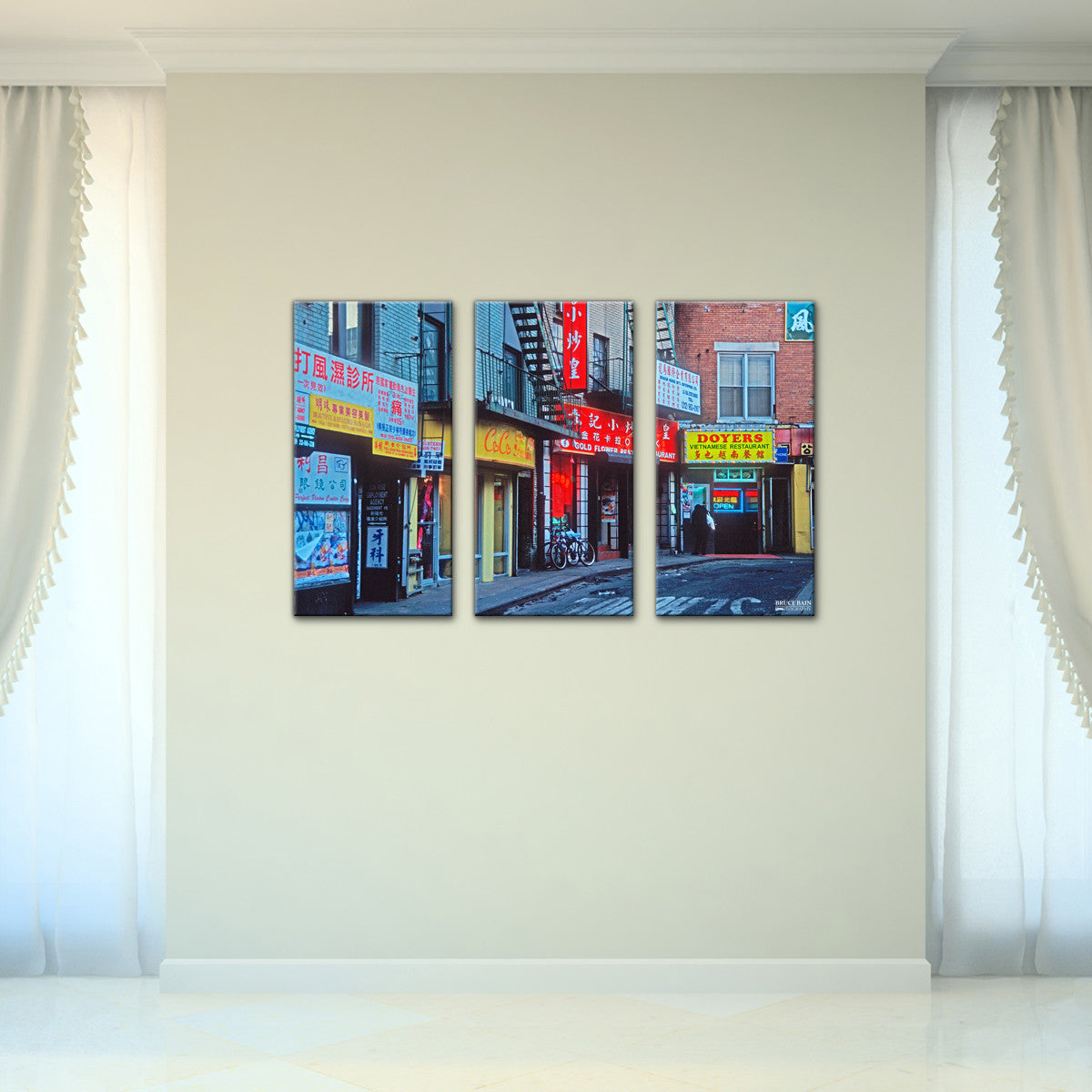 Bruce Bain 'Doyers Street' 24x36 inch Canvas Wall Art (3-Pc set)