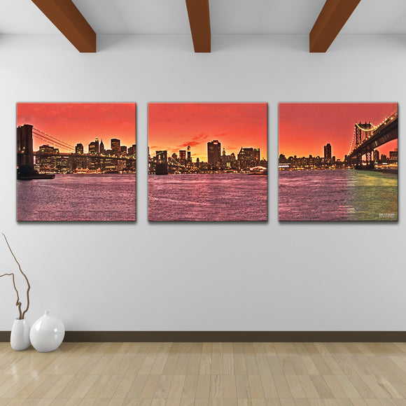 Bruce Bain 'Eastwip' 30x90 inch Canvas Wall Art (3-Pc set)