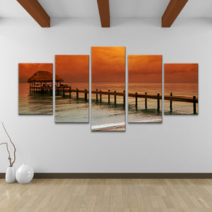 Bruce Bain 'Belize Storm' 30x60 inch Canvas Wall Art (5-Pcset)