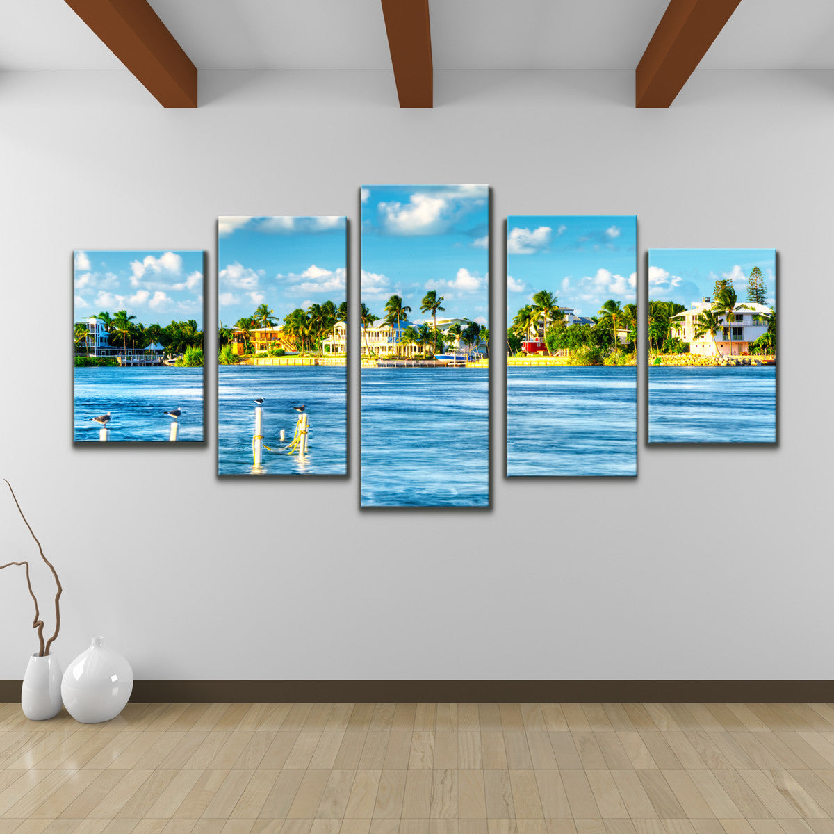 Bruce Bain 'Key's Canal' 30x60 inch Canvas Wall Art (5-Pcset)