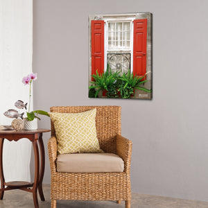 Bruce Bain 'Red Shutters' 24x18 inch Canvas Wall Art