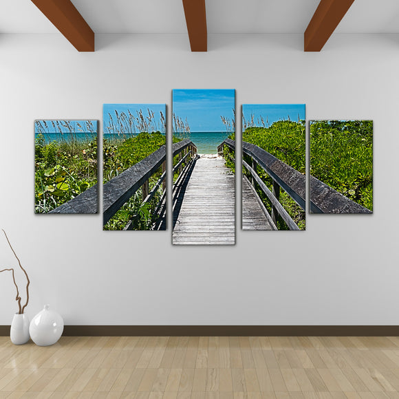 Bruce Bain 'Beach Path' 30x60 inch Canvas Wall Art (5-Pc set)