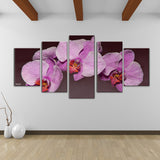 Bruce Bain 'Purple Orchid' Canvas Wall Art (5-piece Set)