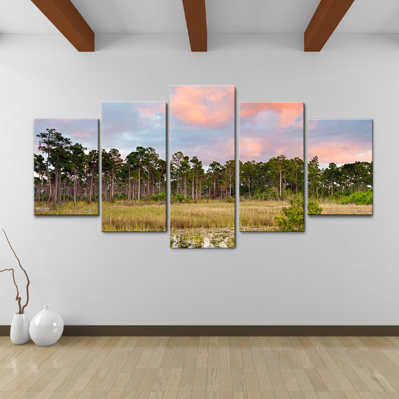 Bruce Bain 'Tree Line' 30x60 inch Canvas Wall Art (5-Pc set)