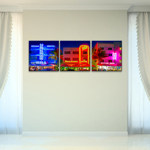 Bruce Bain 'Miami Hotels' 16x48 inch Canvas Wall Art (3-Pc set)