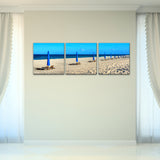 Bruce Bain 'Beach Ready' 16x48 inch Canvas Wall Art (3-Pc set)