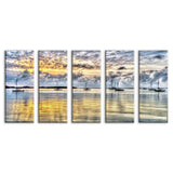 Ready2HangArt Bruce Bain 'Boats at Sea' 5-pc Canvas Art Set